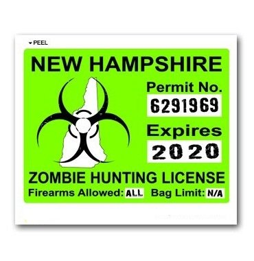 New hampshire nh zombie hunting license permit green for New hampshire fishing license